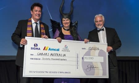 sigma award event with cheque